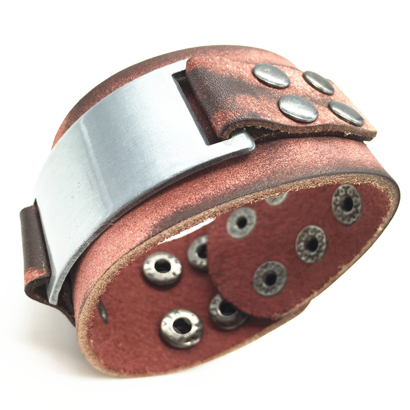 Punk Wide Vintage Alloy Charm Cuff Genuine Leather Bracelets Bangles Men Jewelry Accessories