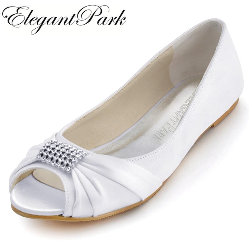 Woman Shoes Wedding Bridal Flats White Ivory Comfort Peep Toe Crystal Satin Lady Prom Dress Bride