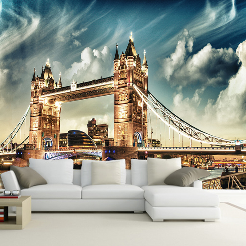 Customize Any Size Office Den Living Room Backdrop Wall Murals European Art Mural 3D Stereo Non-woven Wallpaper London Bridge
