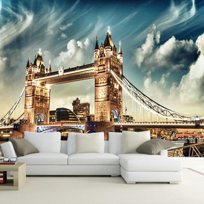 Customize Any Size Office Den Living Room Backdrop Wall Murals European Art Mural 3D Stereo Non-woven Wallpaper London Bridge