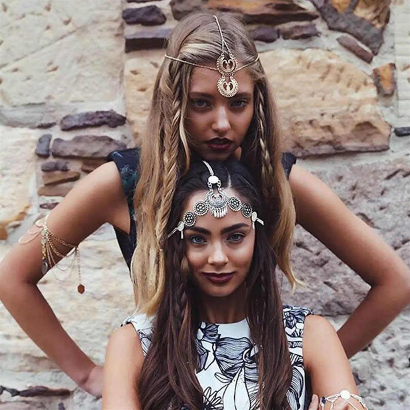 FORSEVEN personalidad Retro estilo étnico Metal frente colgante borlas diadema mujeres chica cabeza cadena accesorios de joyas para el pelo