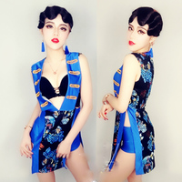 Jazz Dance Costumes Chinese Style Blue Printed Vest Shorts Nightclub Bar Performance Suit Dj Singer Costume For Women DNV10012