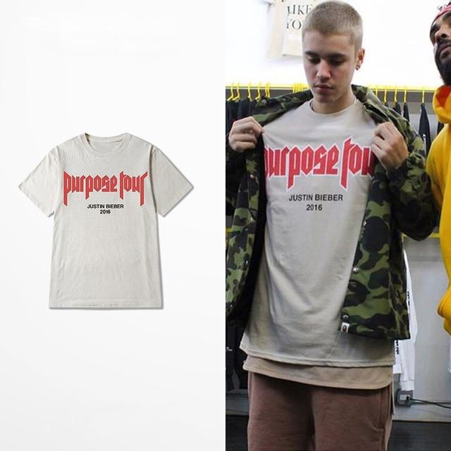 2f2d905c4 2016 Summer Justin Bieber Fear of God Purpose Tour O-Neck Short Tee Sand  Color Merchandise Tour Tshirt Homme Clothing Limit