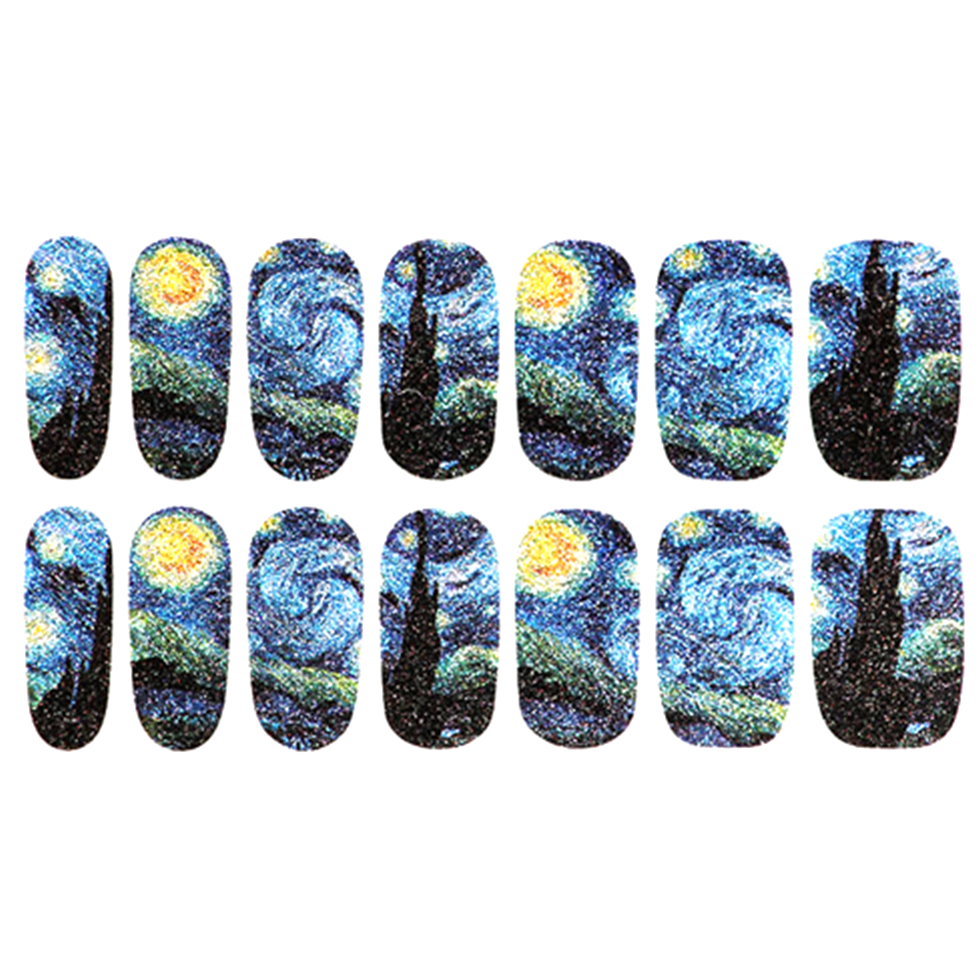 Women Fashion Adhesive Nail Wraps Stickers Nails Art Manicure Tool Water 1 2 Weeks Van Gogh Starry Night Designs In Decals From Beauty