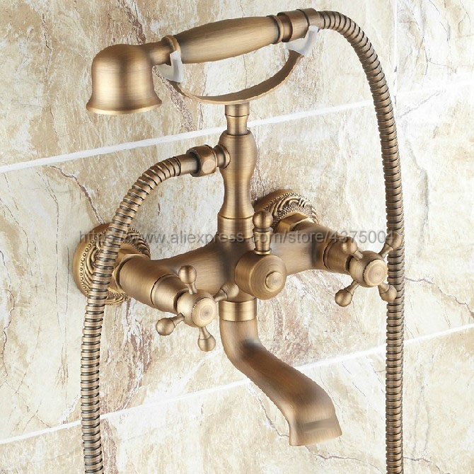 Dual Cross Handles Wall Mounted Antique Brass Bathroom Tub Faucet with Hand Held Shower Sprayer Ntf121 dual cross handles antique brass bathroom tub faucet with hand held shower sprayer