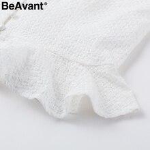 BeAvant Elegant ruffle button white blouse women 2018 Casual plaid spring blouse shirt femme Summer long sleeve short blusas top