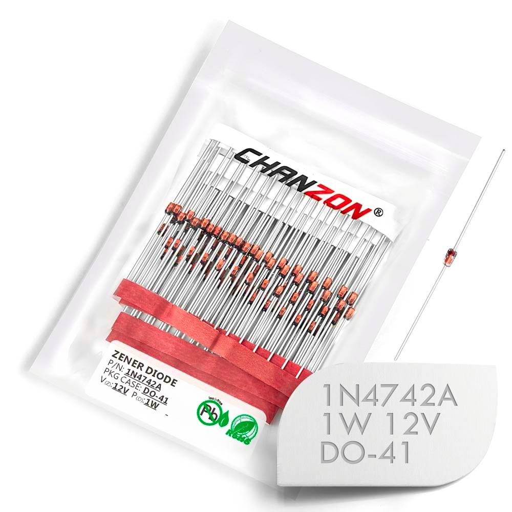 (100/500 Pcs) 1N4742A 1N4742 Power Zener Diode 1W 12V DO-41 (DO-204AL) Axial 1 Watt 12 Volt IN 1N 4742A IN4742A