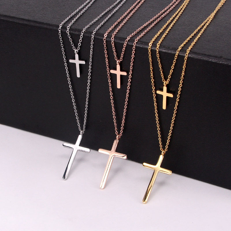 new fashion Jewelry women double chain cross drop Pendant Necklace Stainless Steel wtih IP plated 3 colors free shipping