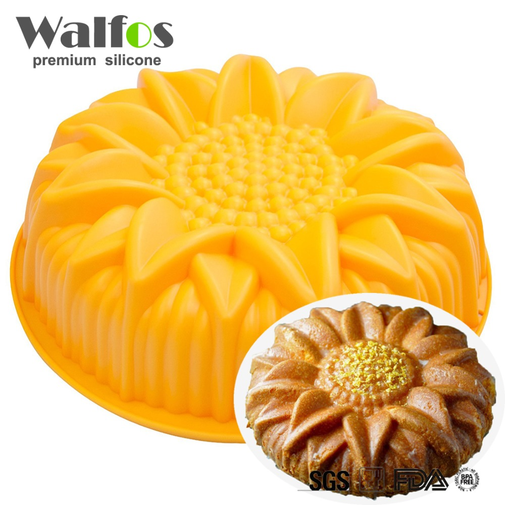 WALFOS big silicone cake mold dessert mold large sunflower Flower Ring Shape Muffin Mousse Bakeware Cakes Pan Tray