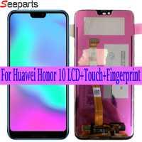 Original testé pour Huawei honour 10 LCD honour 10 écran LCD + écran tactile numériseur assemblée remplacement + empreinte digitale COL-L29