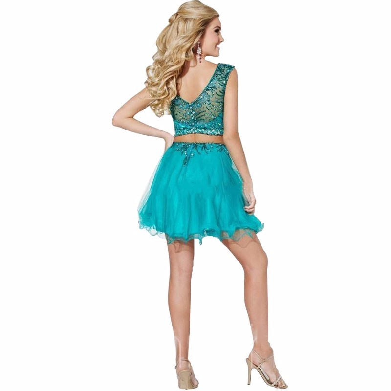 robe cocktail courte Short Green Two Piece Cocktail Dresses vestidos de 15 anos cortos See Through Beads Ladies Homecoming Dress (1)