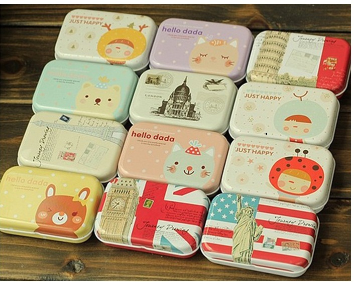 12pcs/lot Retro high quality mini Tin Storage box/ jewelry Box/ Multi-purpose Storage Case