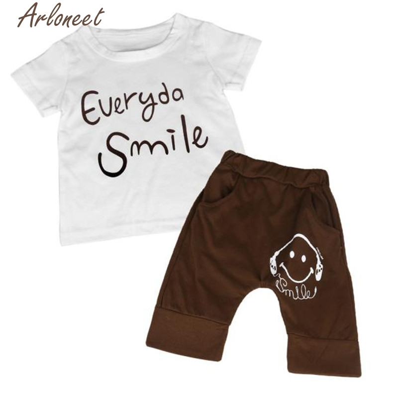 ARLONEET New Year Fashion Christmas pajamasKids Summer Cotton Clothes Smile Face Printed T-shirts Pants Pajama Set CO 90 Oct19