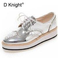 Vintage Women Oxfords Lace Up Striped Platform Shoes Metallic Silver Black Gold Brogues Women S Causal