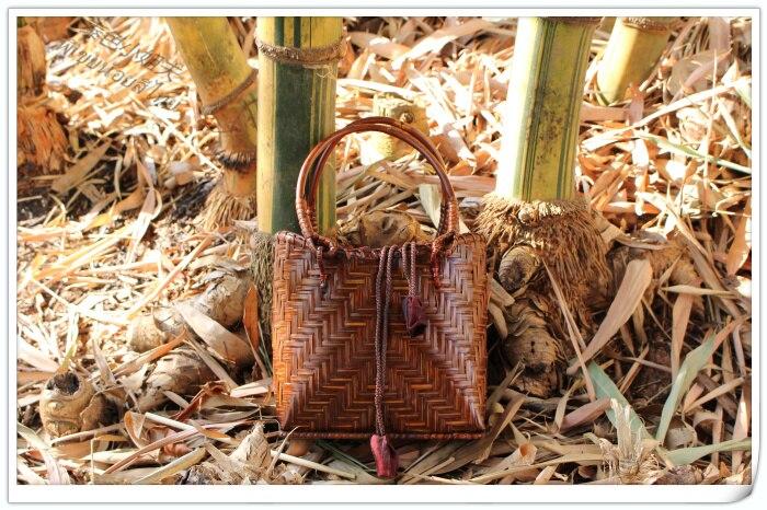 HANSOMFY   Плетеная соломенная сумка ручной работы в богемном стиле, Пляжная летняя шикарная мини бамбуковая сумка, Экологически чистая Праздни... - 3