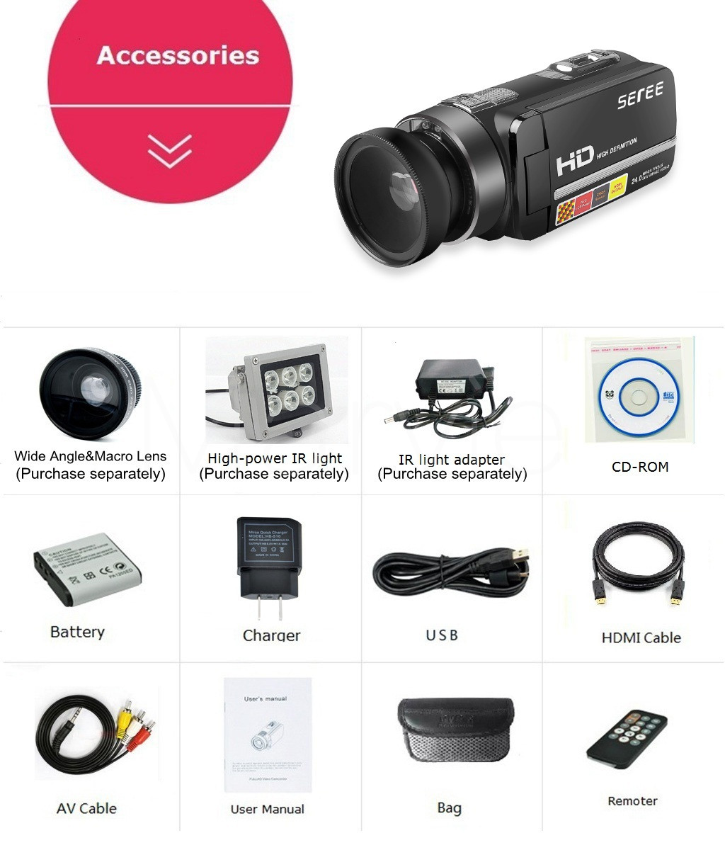 Seree 17 Latest HDV-301 Portable Camcorder Full HD 1080P 16x Digital Zoom Digital Video Camera Recorder DVR 12