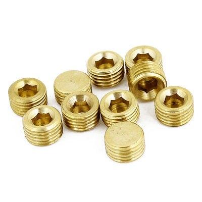 1/4 PT Male Threaded Diameter Metal Inside Hex Head Air Pipe Plug 10 Pcs hex bushing 1 2 pt female threaded straight oil air pipe connector
