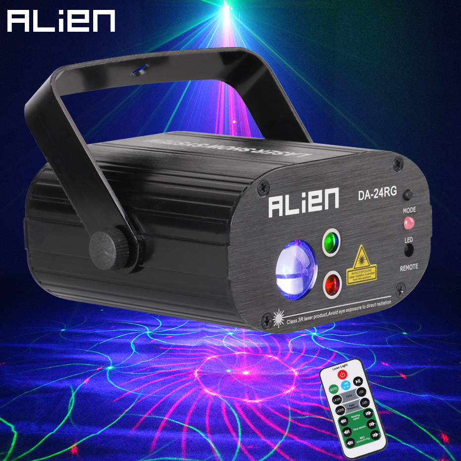 ALIEN Remote RG 24 Patterns Rotating DJ Laser Projector Stage Lighting Effect Party Dance Wedding Holiday Christmas Disco Lights alien 64 patterns rg remote laser stage projector lighting effect dj disco party christmas holiday with rgb led water wave light