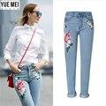 2016 inverno Mulher Marca de Jeans Reta cilindro Rose bordados Jeans para as mulheres