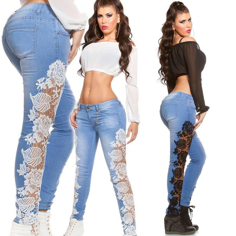 KL928 Hot selling spring skinny jeans woman solid patchwork hollow out pencil lace denim jeans female
