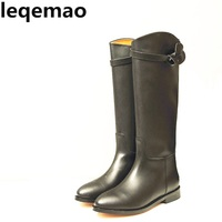 Classics Real Leather Comfortable Women Knee High Buckle Etro Buckle Square Heels Boots Full Grain Cow