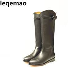 Classics Real Leather Comfortable women knee high buckle etro Buckle Square Heels boots Full Grain cow Leather Shoes Size 34-42