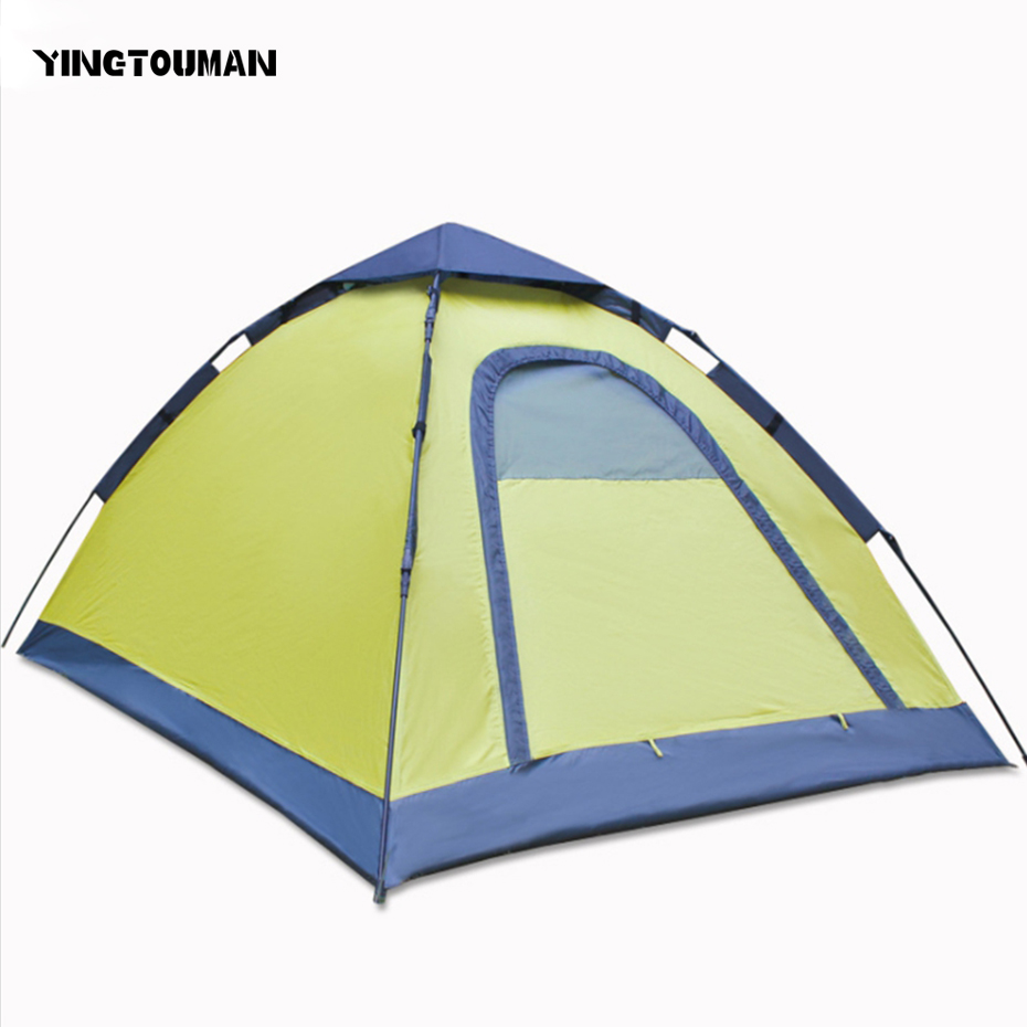 YINGTOUMAN Outdoor 2 Person Waterproof Tent Portable Camping Hiking Quick Automatic OpeningTents yingtouman outdoor 2 person waterproof double layer tent fiberglass rod portable ultralight camping hikingtents