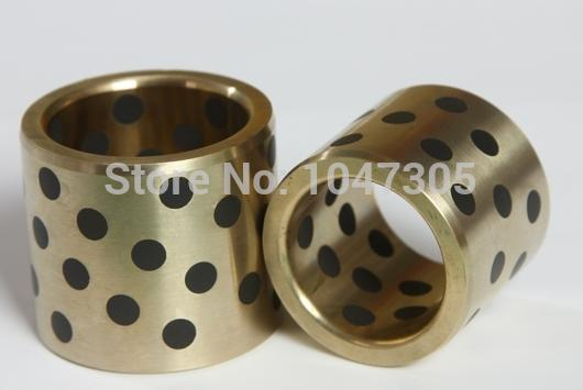 JDB 254029 oilless impregnated graphite brass bushing straight copper type, solid self lubricant Embedded bronze Bearing bush jdb 406080 copper sleeve the same size of lm12 linear solid inlay graphite self lubricating bearing