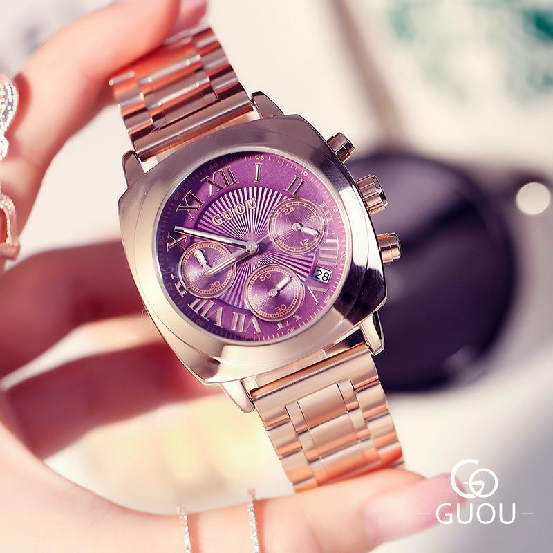 Saatler'ten Kadın Saatleri'de 2019 kadın izle lüks marka kadın tüm çelik kuvars saat gül altın iş kadın İzle Relogio feminin oymak Kol Saati title=
