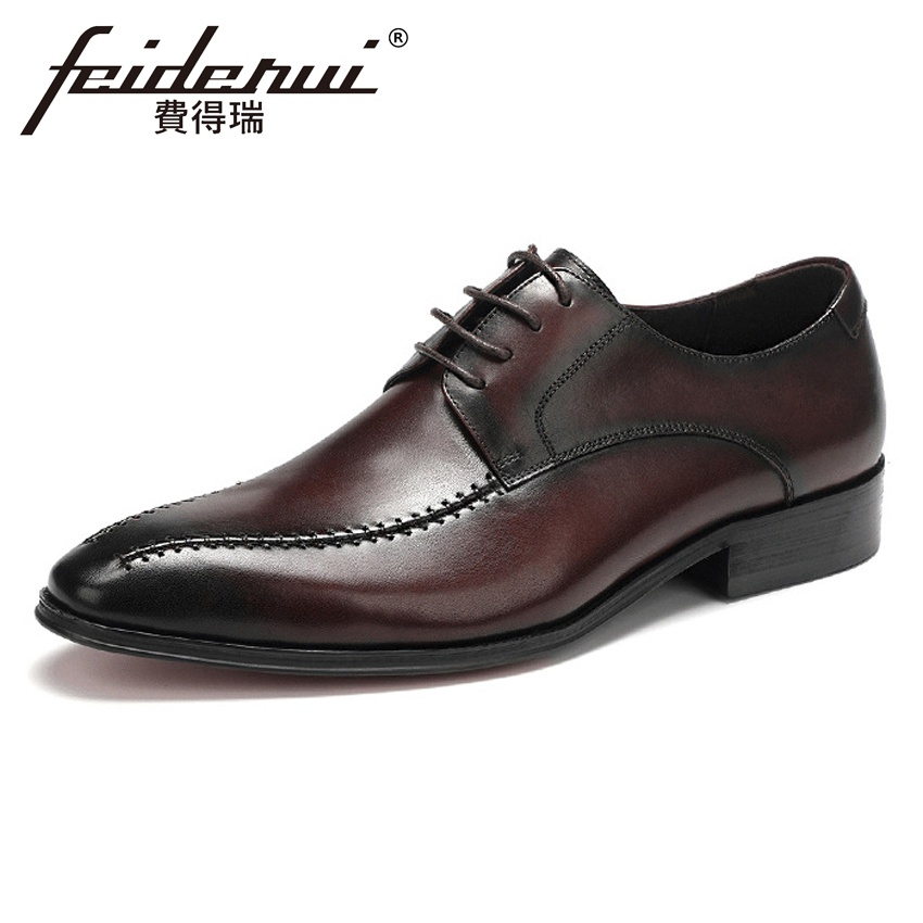 Big Size 37-46 Vintage Genuine Leather Handmade Men's Banquet Footwear Pointed Toe Derby Man Wedding Formal Dress Shoes ASD64 plus size hot sale pointed toe derby man banquet footwear fashion genuine leather wedding party men s formal dress shoes sl451