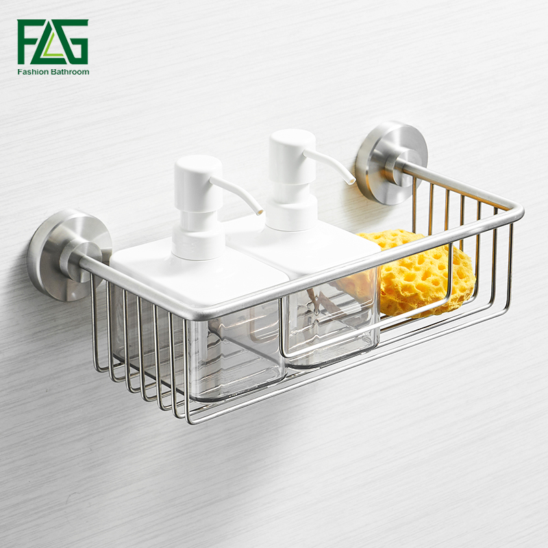 FLG Bathroom Shelves Single Tier 304 Stainless Steel Shower Basket Bath Soap Shampoo Storage Holder Wall Bathroom Shelf G211-05N bathroom shelves stainless steel wall mount shower corner shelf shampoo storage basket modern home accessories holder wf 18067