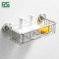 FLG Bathroom Shelves Single Tier 304 Stainless Steel Shower Basket Bath Soap Shampoo Storage Holder Wall Bathroom Shelf G211 05N