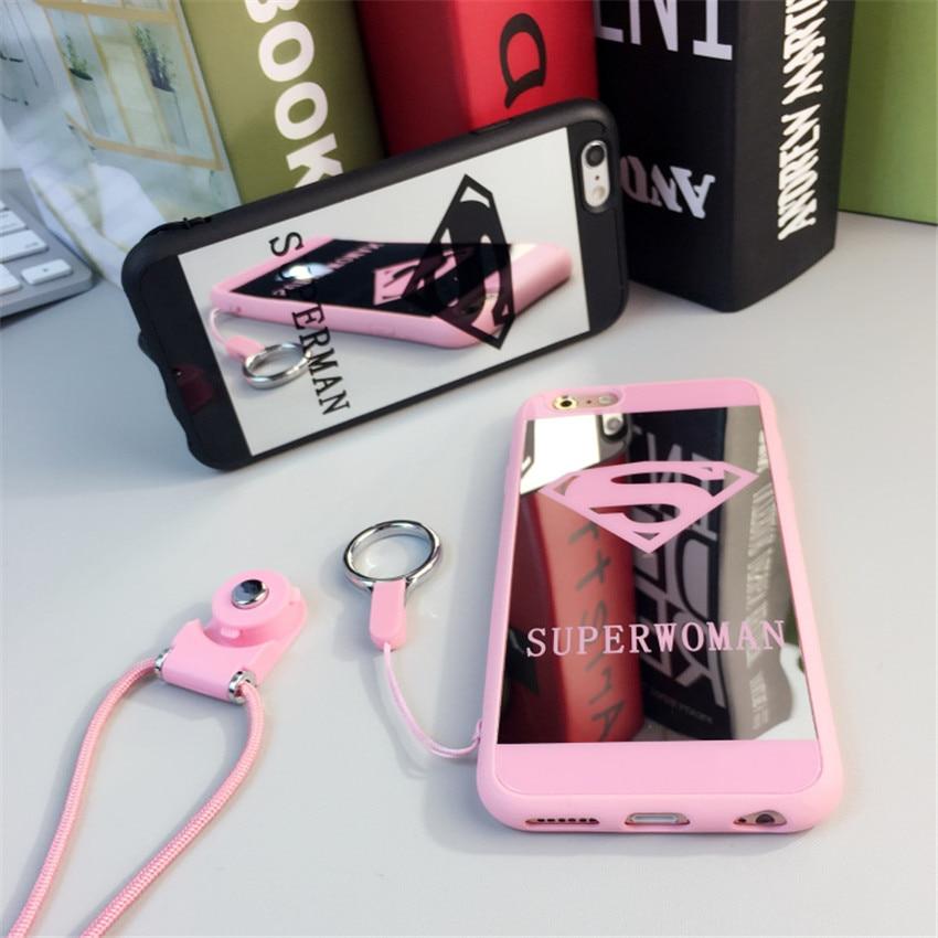 Marca de moda espejo casos para iphone 7 6 s 5S case cartoon superman gel suave