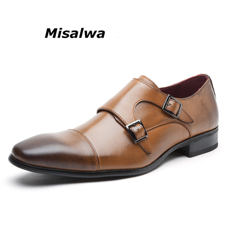 Misalwa 2018 Brand Split Leather Double Buckles Men's Dress Shoes Comfortable Formal Business Strap Dress Footwear