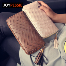 JOYPESSIE 2016 New Fashion leather Women Wallet 3 Fold tassel luxury brand casual PU Wallet Long Ladies Clutch Coin Purse
