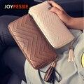JOYPESSIE 2016 Nueva Moda de cuero Carpeta de Las Mujeres de la borla de la marca de lujo ocasional de LA PU Carpeta Larga de Las Señoras Monedero del Embrague