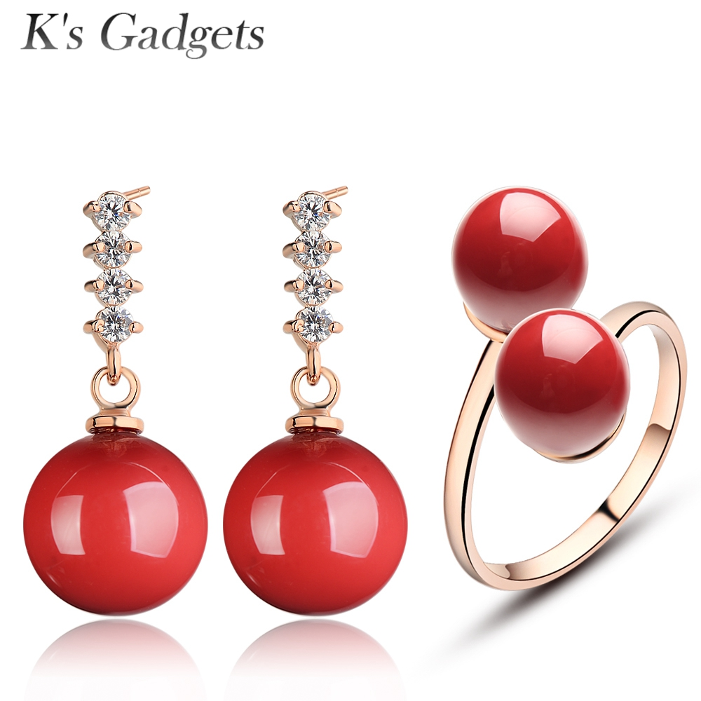 Crystal Rhinestone Earrings Wedding Jewelry Double Ball Open Ring Red Artificial Coral Woman Bridal Jewelry Sets