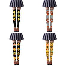 Sexy Fashion Women Thigh High Stockings For Girls Over Knee Socks Cute Long Expression Printed 5SW23