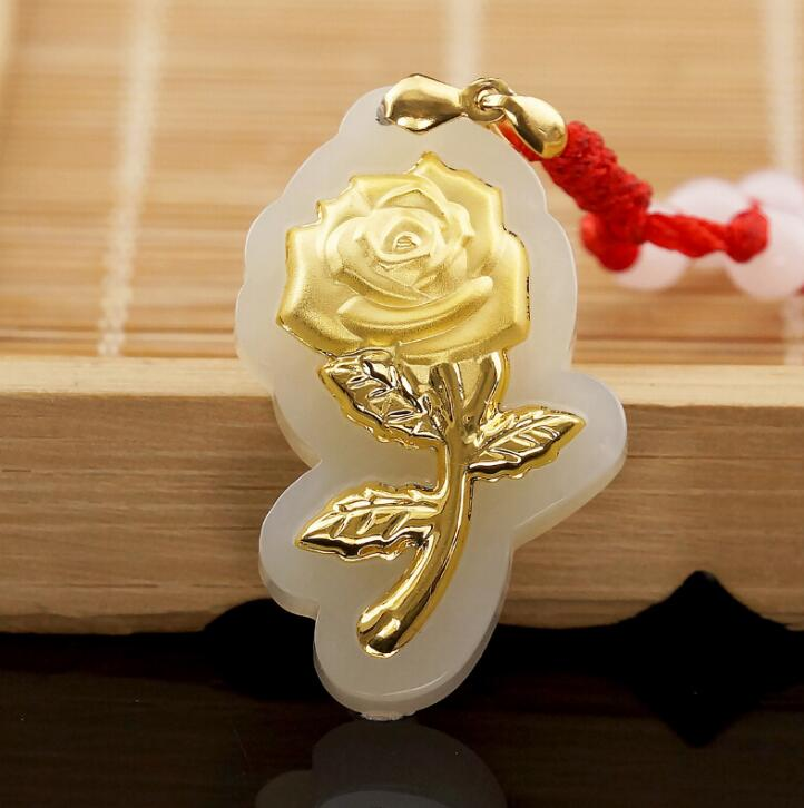 Free Shipping Fashion Elegant Rose Flower Jade Pendants For Women Top Quality Necklace