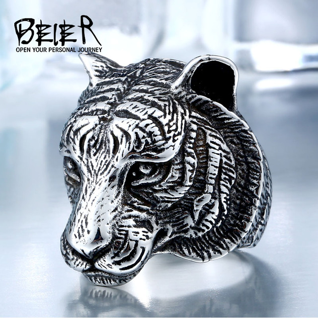 BEIER Domineering 3D Gold /black Tiger Head Unique Animal Ring For Man Biker Pun