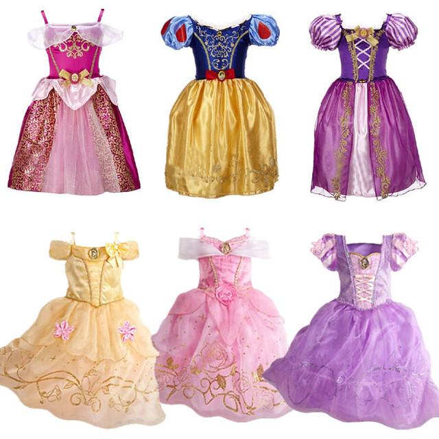 Edad 2-10 años de Muchachas de La Princesa Visten Ropa de Los Niños Vestido de Blancanieves Rapunzel Cenicienta Aurora Dress Niños Ropa de Moda H346
