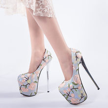 Embroidered national style 20cm super high heels large size 41-43 stiletto  waterproof platform single shoes elegant womens shoes c6350b352589