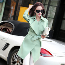 European and American women new 2017 spring and autumn women Slim classic fashion coat long fashion jacket Windbreaker. 160