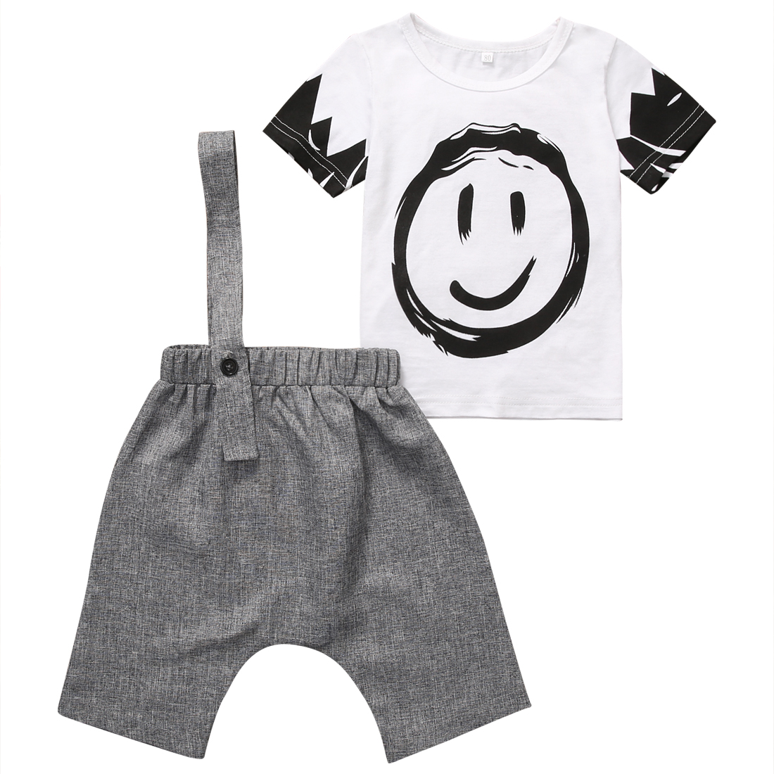 Summer 2018 Newborn Baby Boy Clothes Short Sleeve Cotton T-shirt Tops + Harem Overalls 2PCS Outfit Toddler Kids Clothing Set infant baby boy girl 2pcs clothes set kids short sleeve you serious clark letters romper tops car print pants 2pcs outfit set