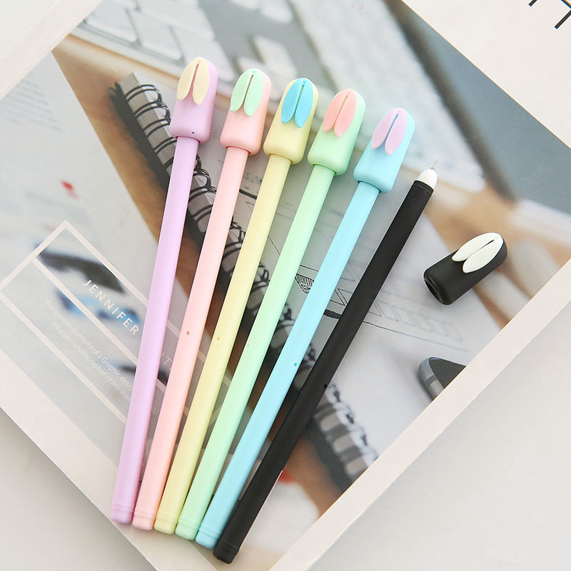 цена на 30pcs/lot Kawaii rabbit gel pen cute 0.5mm Black ink candy color pen for girl stationery school office supplies gift kalem 04131