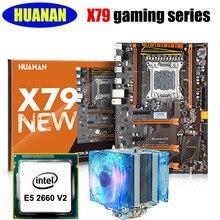 HUANAN X79 deluxe jeux carte mère CPU combos avec CPU refroidisseur X79 LGA2011 carte mère processeur Xeon E5 2660 V2 tous testés