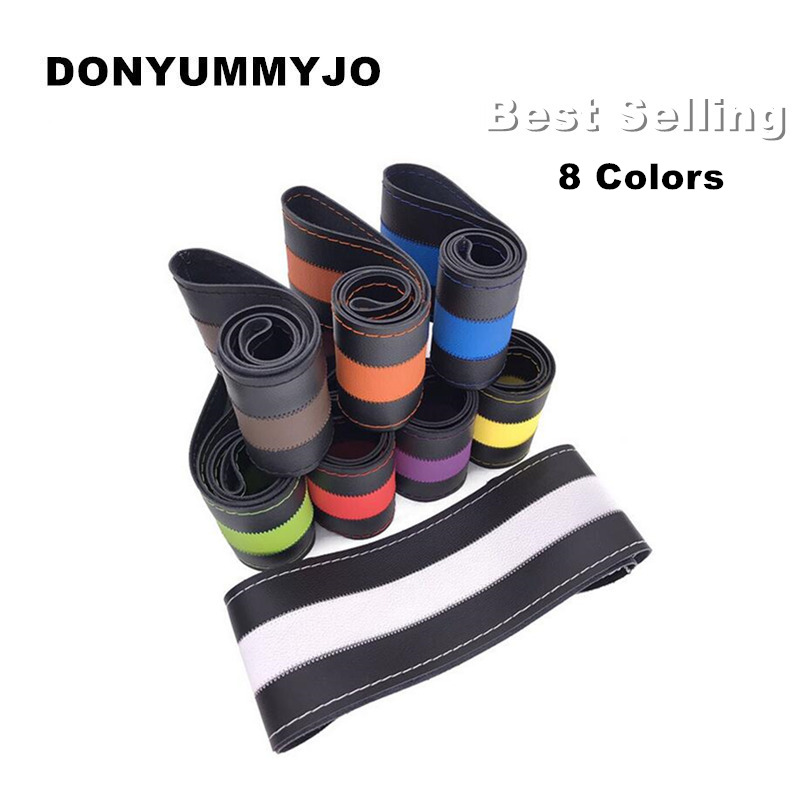 DONYUMMYJO Multicolour DIY Leather Sport Car Steering Wheel Cover Auto Car Stitch On Wrap Cover WIth Needles and Thread 38cm/15""