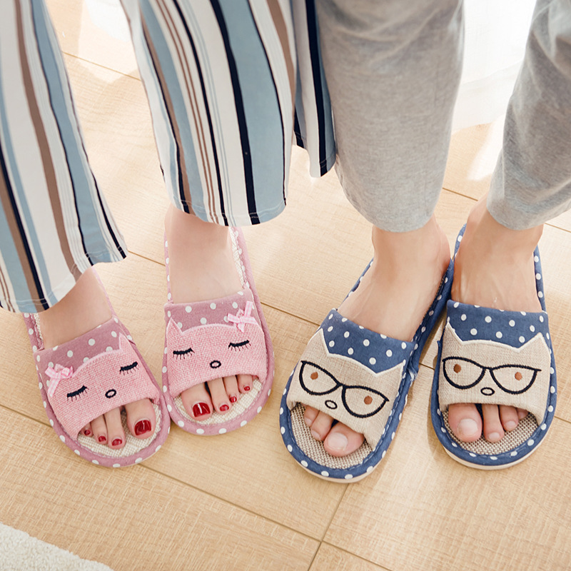 Women Indoor Slippers Breathable Flax Soft Bottom Spring Summer Flat Shoes Woman Home Slides Cartoon Style Lovers Floor Slippers