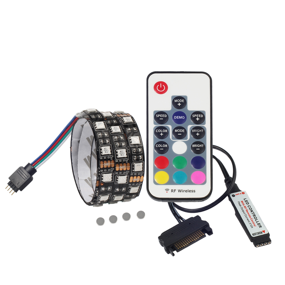 Magnetic LED Strip Light 5050 RGB for PC Computer Case, SATA power supply interface,Fixed by Magnet,Remote Control