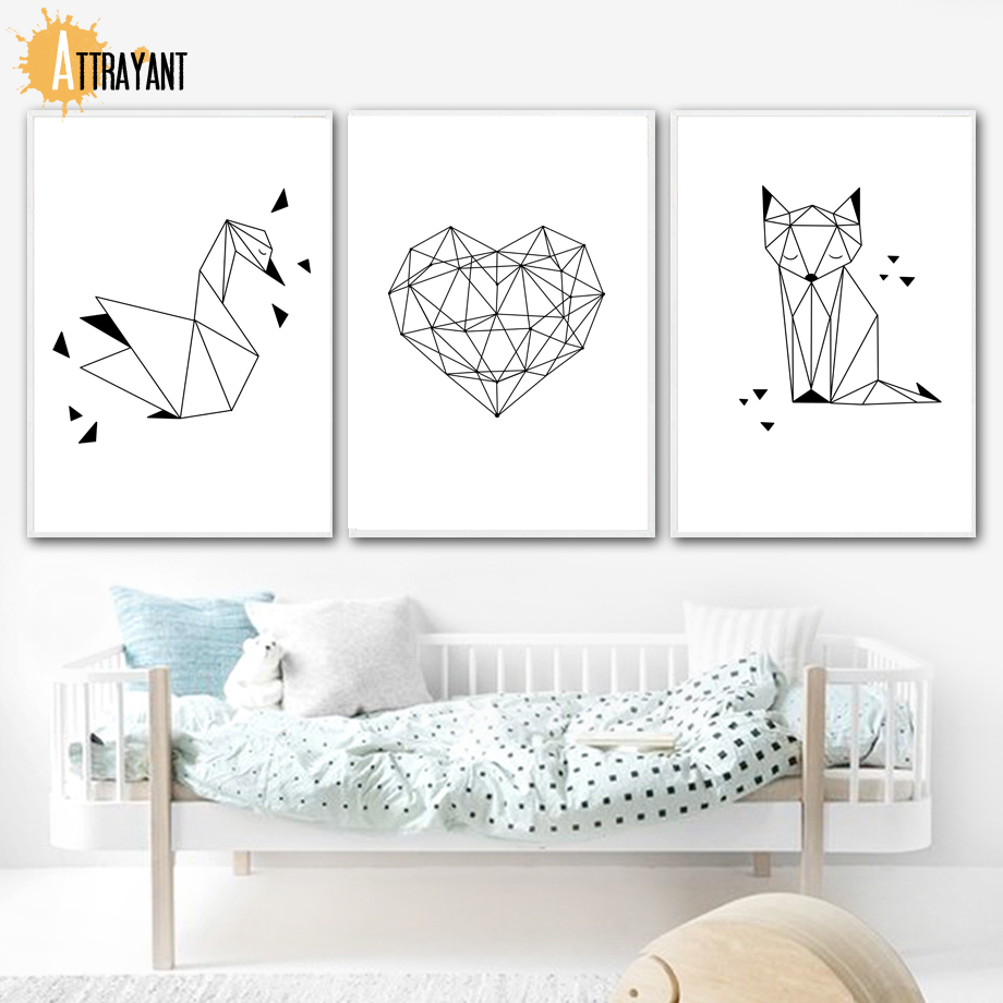 Swan Heart Fox Geometric Wall Art Canvas Painting Nordic Posters And Prints Pictures For Kids Bedroom Baby Boy Room Decor